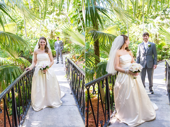 Filda Konec Photography - Hemingway House Wedding - bride and groom's first look in key west