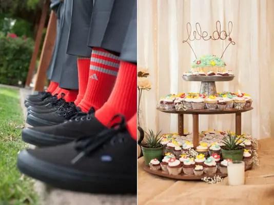 rustic chic arizona wedding at Shenandoah Mill, red groomsmen socks, wedding cupcakes