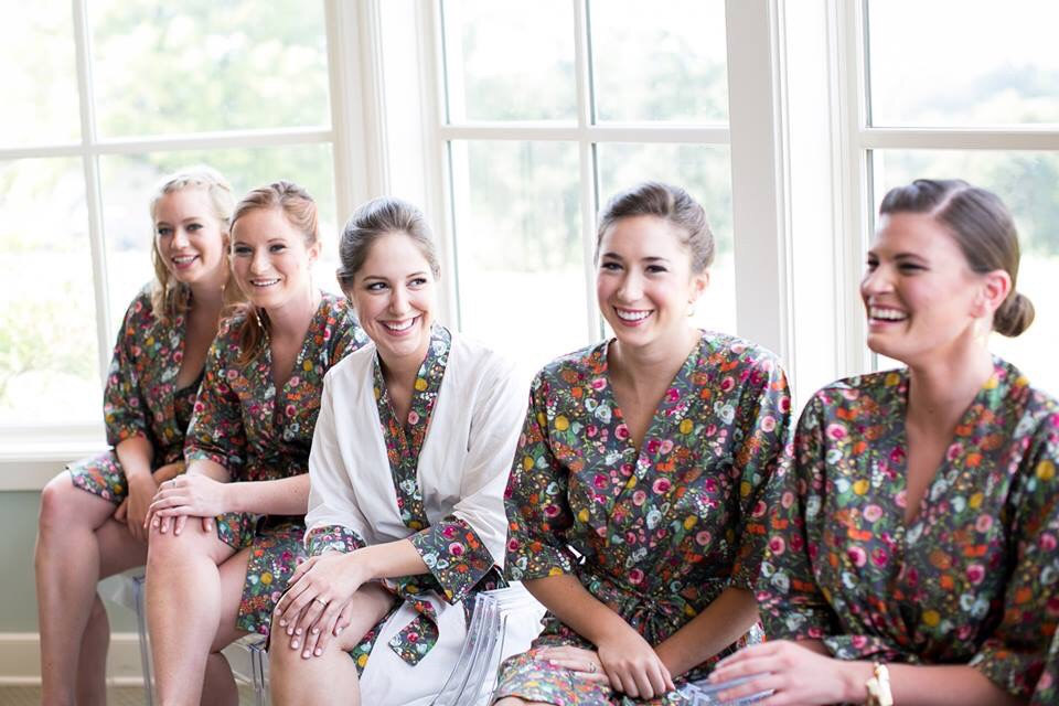 colorful floral kimono style bridesmaid robes