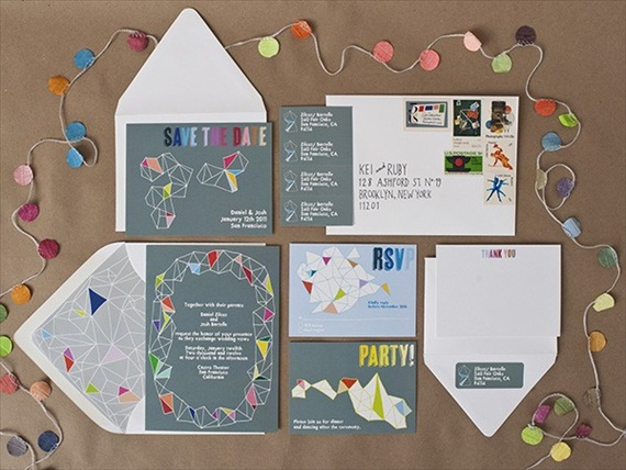 colorful wedding accessories -- invites with a kaleidoscope design by vigilante paper via emmalinebride.com