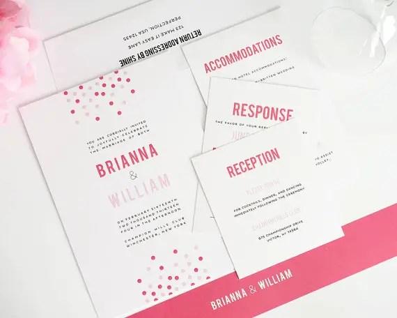 confetti modern wedding invitations