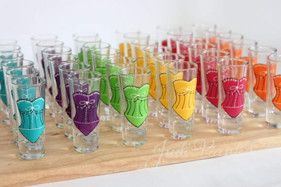 corset shot glasses via Colorful Wedding Accessories (glasses by judi painted it)