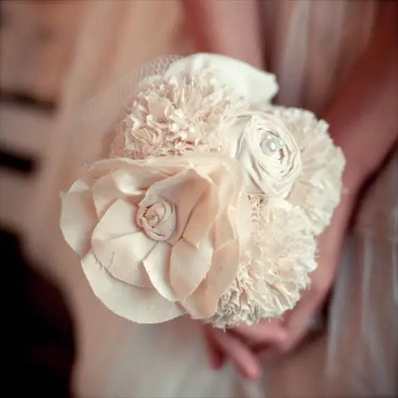 Fabric Flower Bouquet (by Autumn & Grace Bridal) - cotton toss bouquet