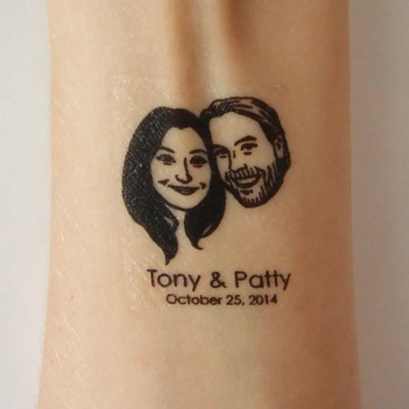 Custom portrait temporary tattoos | http://emmalinebride.com/invites/custom-portrait-rubber-stamp/
