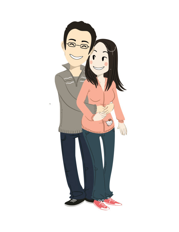 couple-illustrated-holding-each-other-casual-wear
