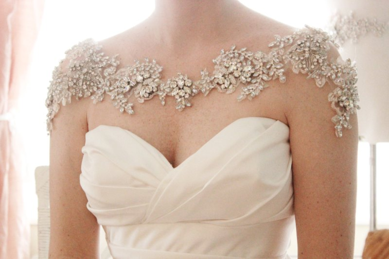 This crystal bridal bolero offers such a unique look! | http://emmalinebride.com/bride/wedding-cover-ups/