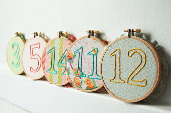 embroidered wedding ideas - custom embroidery table numbers (by the merriweather council)