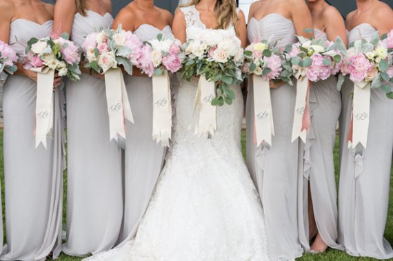 Monogrammed Bouquet Ribbons for Weddings | by Oatmeal Lace Design. Photo: Katlyn Weir.