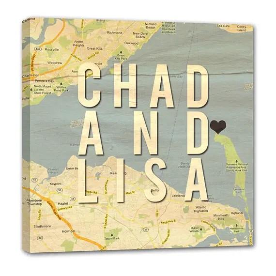 custom wedding art print map