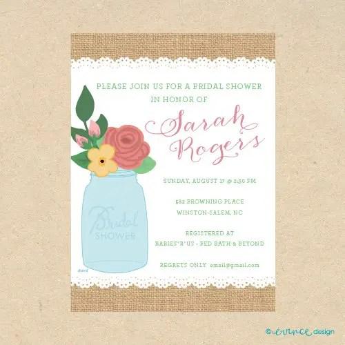 cute printed mason jar burlap inspired invitation