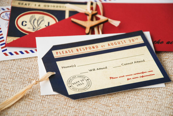 desination wedding invitations red white blue airmail - 5 Creative Wedding Invitation Styles