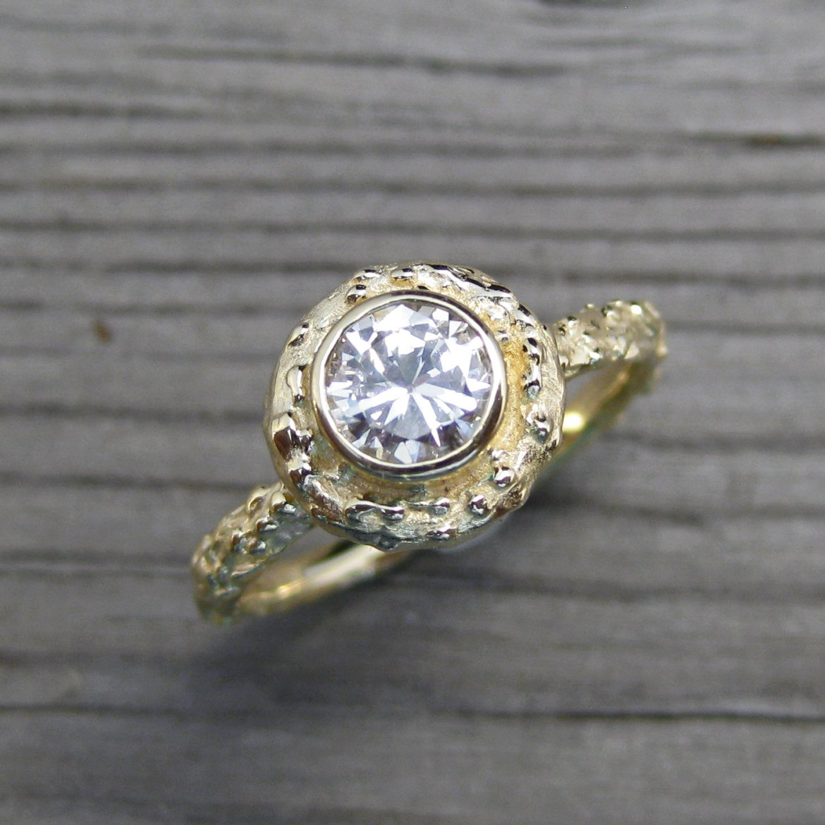 diamond engagement ring rustic twig