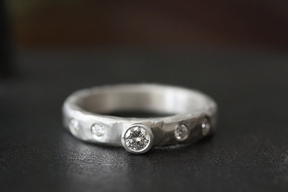 diamond set carved band | handmade wedding rings | http://emmalinebride.com/jewelry/handmade-wedding-bands/