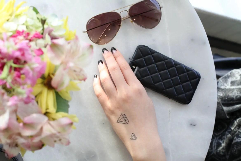 diamond temporary tattoos by spiritink | fun bachelorette party ideas | http://emmalinebride.com/planning/fun-bachelorette-party-ideas/