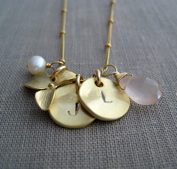 double orchid birthstone necklace