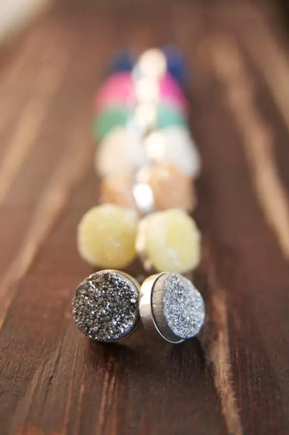 druzy stud earrings | druzy bridesmaid jewelry