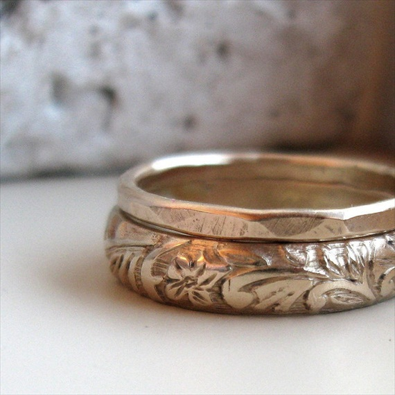 Wedding Ring Resize: Earth Inspired Wedding Ring Set