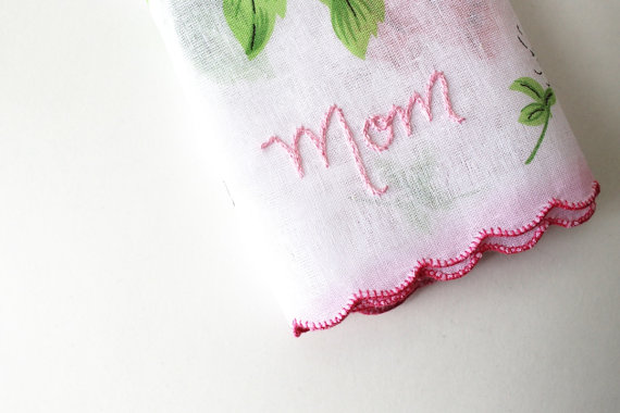 embroidered wedding ideas - embroidered mom handkerchief