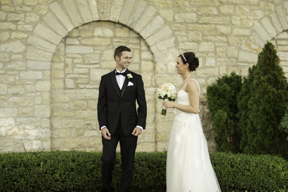 Rebecca Borg Photography - illinois country club wedding - groom in black tux meets bride for first look