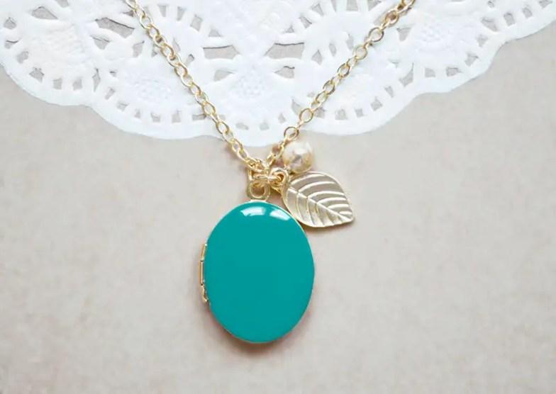 enamel locket with leaf