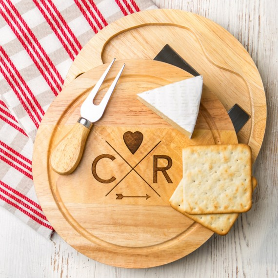 engraved cheese board set by dust and things