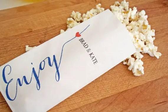 enjoy popcorn favor bag
