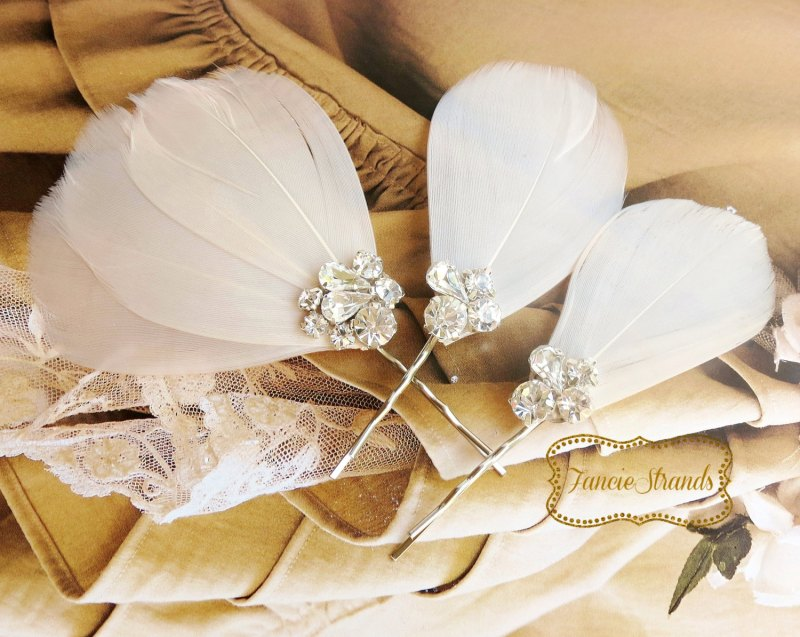 Rhinestone Champagne Blush Wedding Hair Clips by Fanciestrands   via http://emmalinebride.com/bride/what-to-wear-instead-of-veil/ - What to Wear Instead of Veil