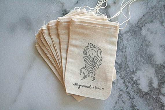 Feather Themed Wedding - favor bags by clementine weddings