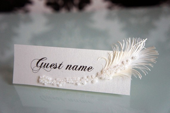 Feather Themed Wedding - place card by lira designe