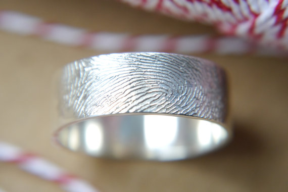 fingerprint ring | handmade wedding bands | http://emmalinebride.com/jewelry/handmade-wedding-bands/
