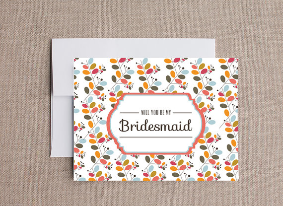 floral design be my bridesmaid card