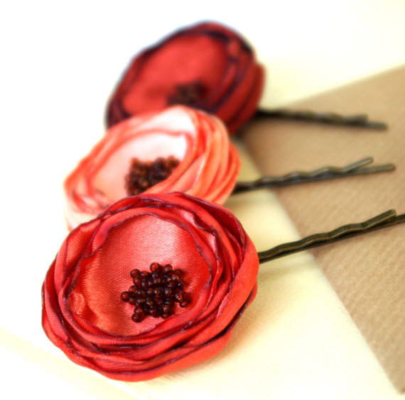flower hair pins trio