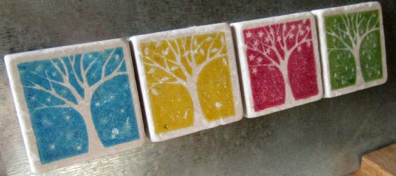 Coaster Favors (+ Tile Magnets) for your Wedding (by My Little Chickadee Creations)