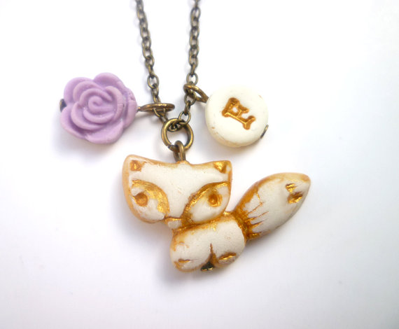fox necklace for flower girl by vidarisa