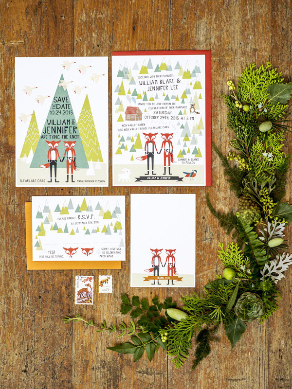 fox wedding invitations by 3eggsdesign | Fox Ideas Weddings via http://emmalinebride.com/rustic/fox-ideas-weddings/