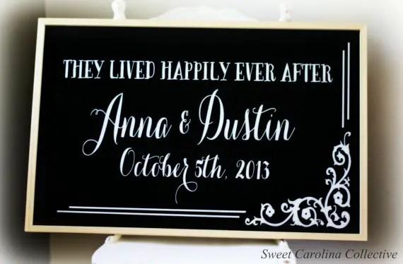 framed chalkboard wedding sign