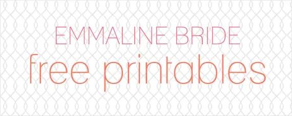 Free Wedding Printables via EmmalineBride.com
