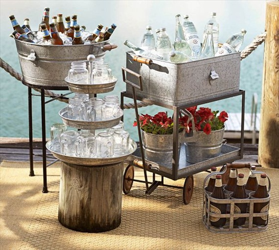 Wedding Drink Station Ideas - galvanized tubs and tiered stands