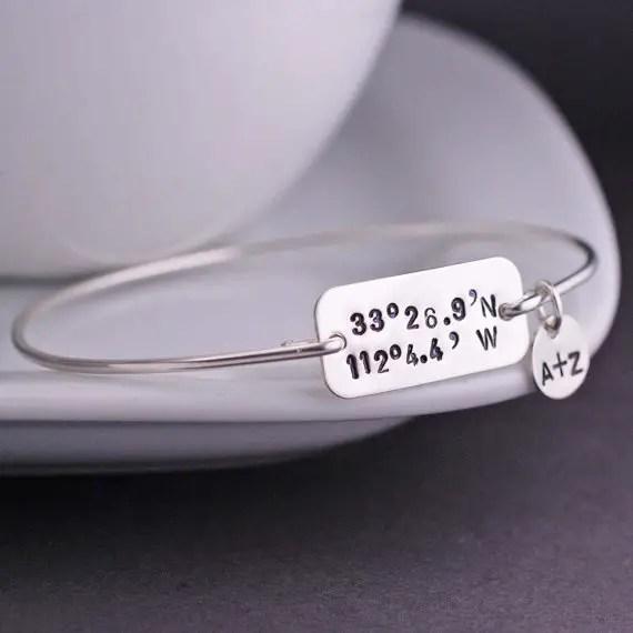 geography coordinates latitude longitude bracelet with initials