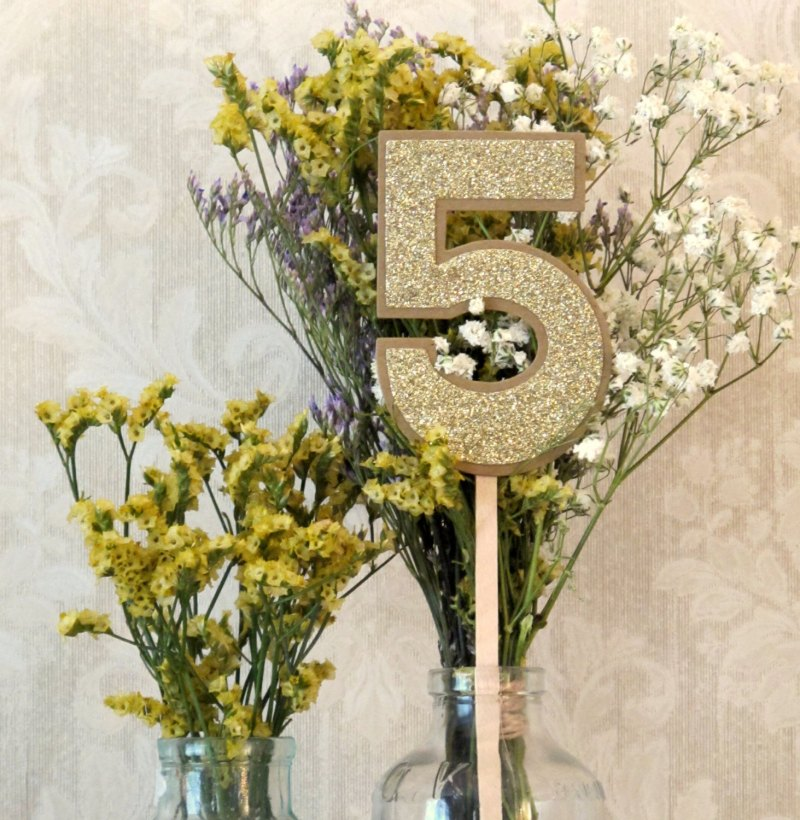 glittery table numbers rustic chic by JoBlake | rustic chic wedding ideas