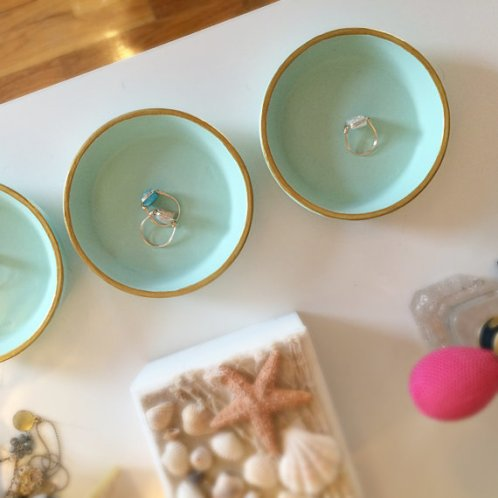 gold and tiffany blue ring dish by incredible lil things
