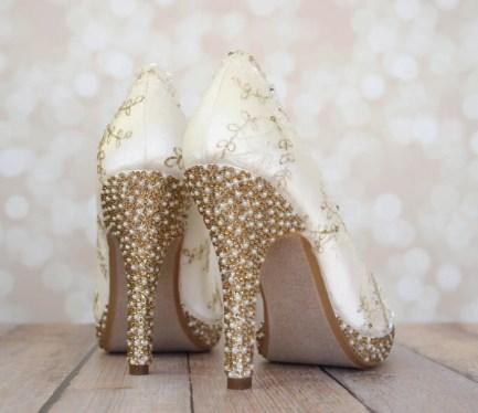 white bridal jeweled wedding shoes