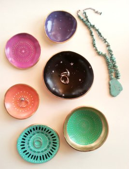 gold ring dishes by mcdonald mixed media