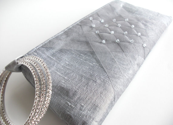gray organza lattice wedding wristlet clutch