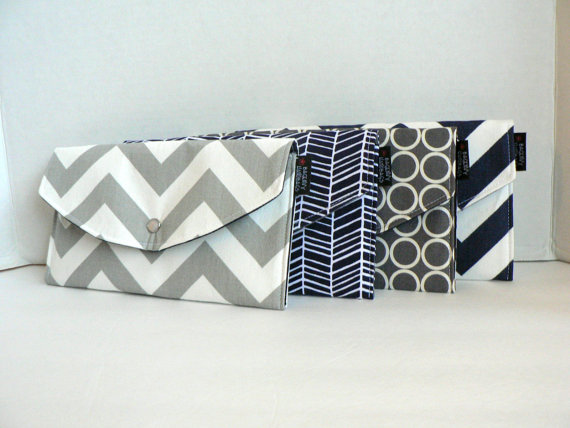 Grey and Navy Modern Mismatched Clutches - pick a purse each bridesmaid will love in a particular color with her own unique pattern or print.