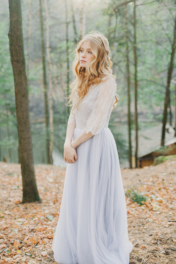 grey tulle wedding dress