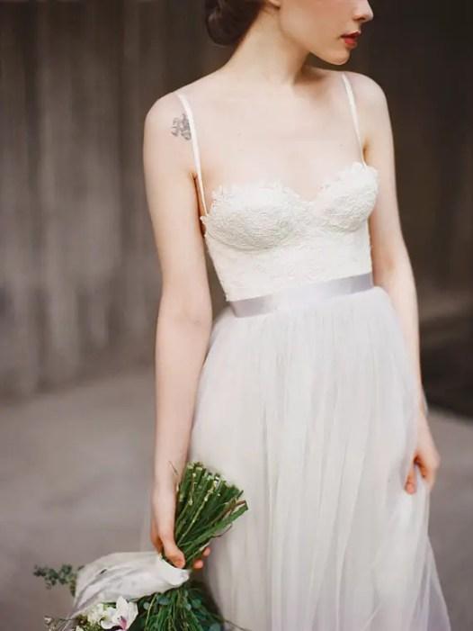 grey wedding dress - image left