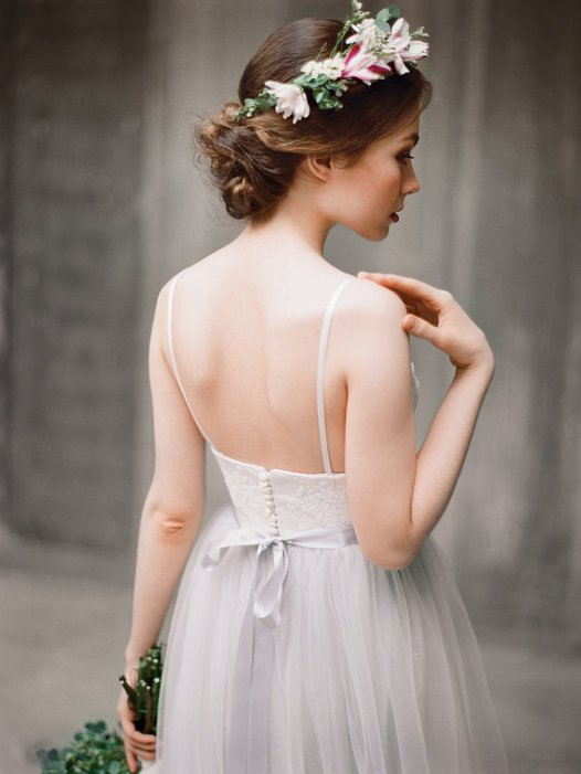 grey wedding dress - image right