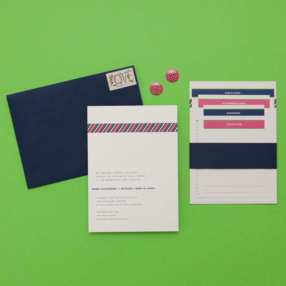 how to coordinate your wedding - grosgrain invitation (by dear lc)