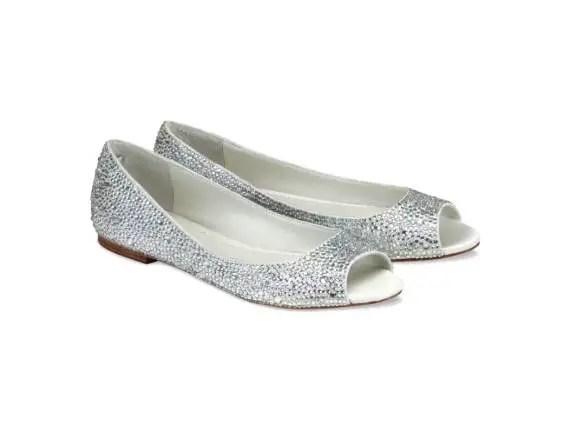halle bridal peep toe flats